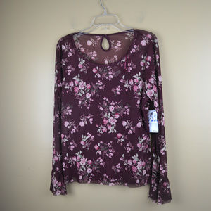 One Hart Women's Burgandy Floral Print Top